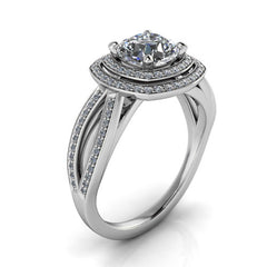 Cushion Cut Engagement Ring Double Halo Diamond Setting Moissanite Center - Julissa - Moissanite Rings