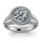 Bezel Set Moissanite Diamond Engagement Ring Moissanite Center - Florence - Moissanite Rings
