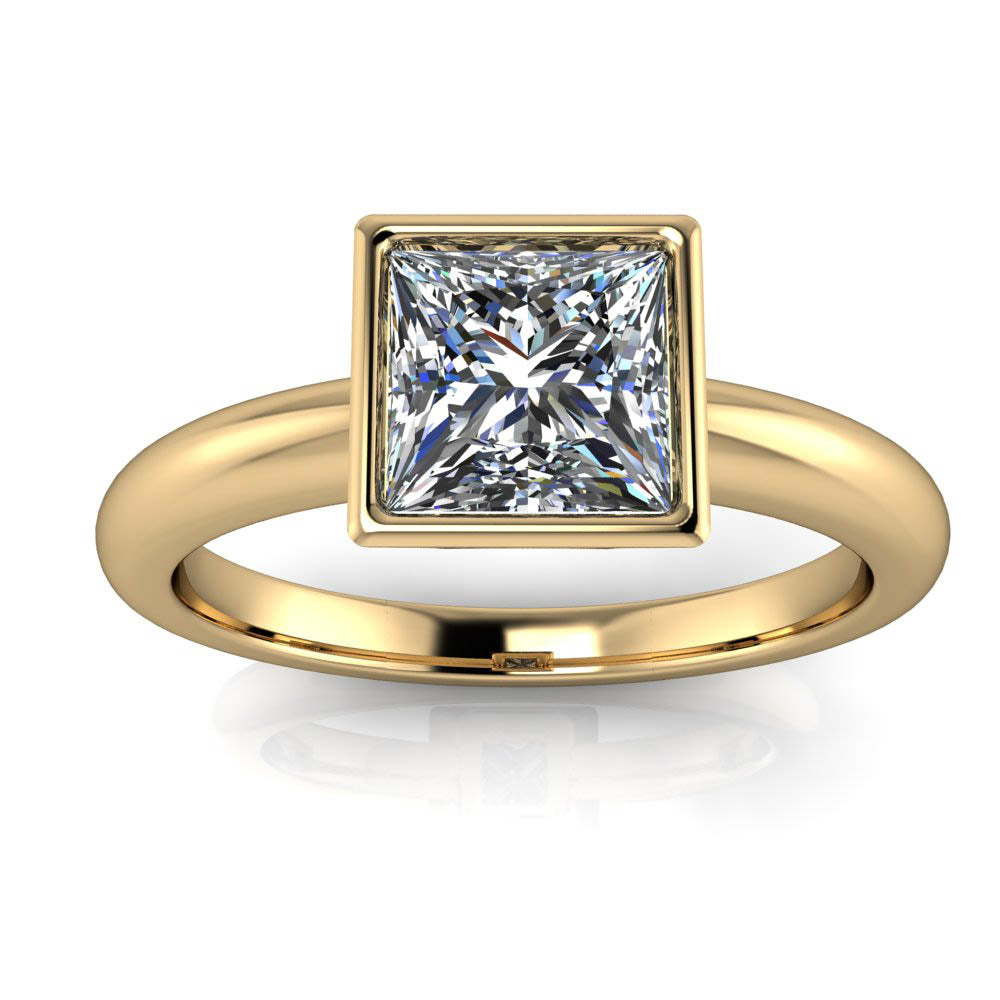 Engagement Rings With Moissanite: Princess Cut Solitaire Moissanite Ring Engagement Ring