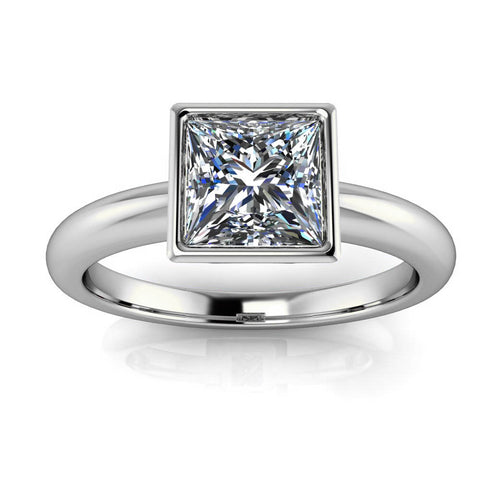 Bezel Set Princess Cut Moissanite Engagement Ring - Amata - Moissanite Rings