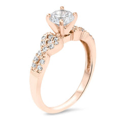 Twisted Band Engagement Ring Diamond Halo - Mati - Moissanite Rings