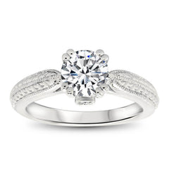 Forever One Moissanite Engraved Solitaire Engagement Ring - Kristen - Moissanite Rings