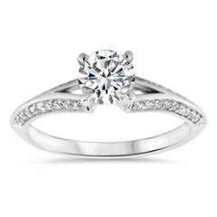 Split Shank Knife Edge Diamond Wedding Set - Kourt Wedding Set - Moissanite Rings