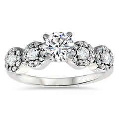 Diamond Halo Side Stones Moissanite Center Engagement Ring  - Bubbly - Moissanite Rings