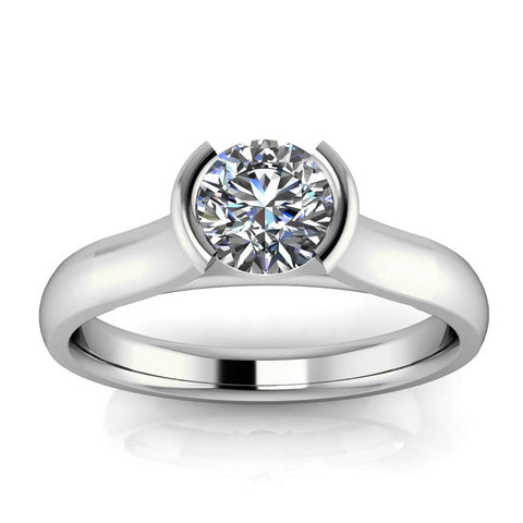 Half Bezel Moissanite Engagement Ring - Franca - Moissanite Rings