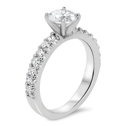 Pave Set Diamond Band Engagement Ring - Ang - Moissanite Rings