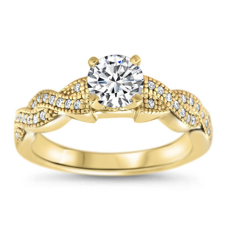 Braided Diamond Setting Moissanite Engagement Ring - Regina - Moissanite Rings
