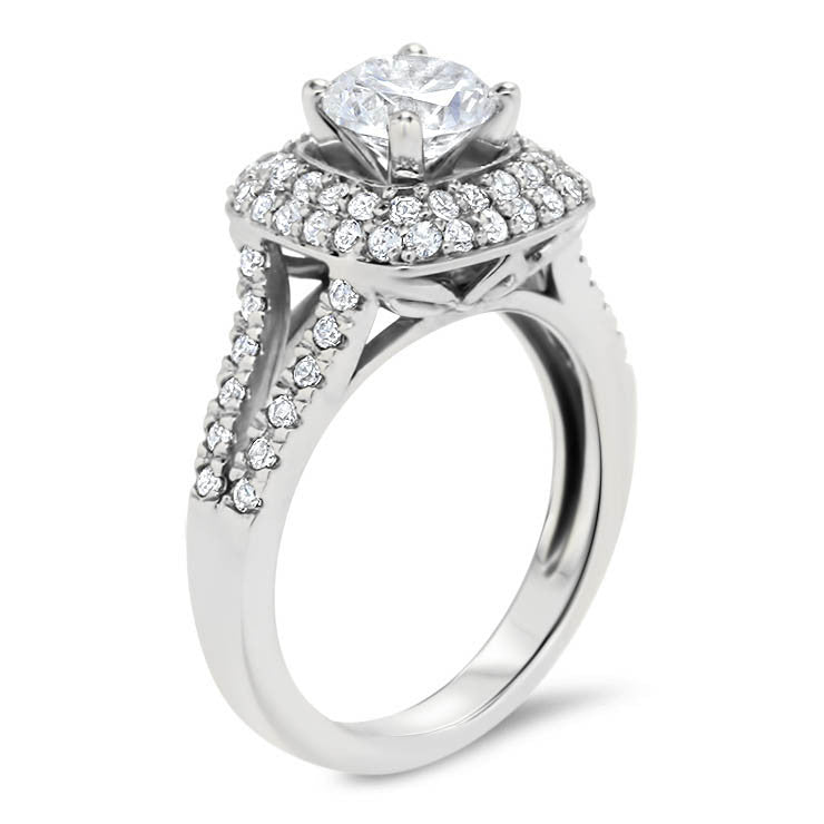 Diamond Pave Halo Split Shank Moissanite Engagement Ring -  Bobbi - Moissanite Rings