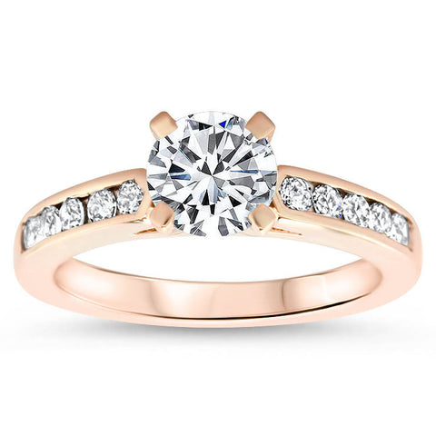 Channel Set Diamond Setting Moissanite Center Engagement Ring - Mona - Moissanite Rings