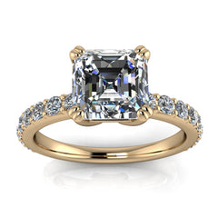 Asscher Cut Moissanite And Diamond Engagement Ring - Rebecca - Moissanite Rings