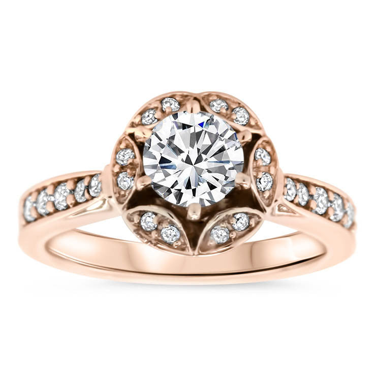 Vintage Inspired Diamond Halo Forever One Moissanite Engagement Ring  - Gwen - Moissanite Rings