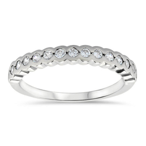 Bezel Set Diamond Wedding Band - Nan Wedding Band - Moissanite Rings