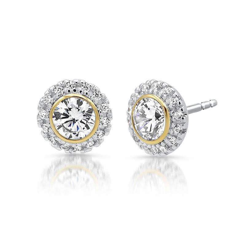 Diamond Halo Bezel Set Studs