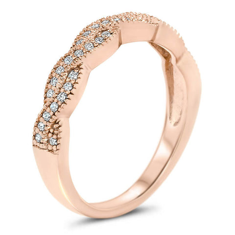 Braided Diamond Wedding Band - Regina Band - Moissanite Rings
