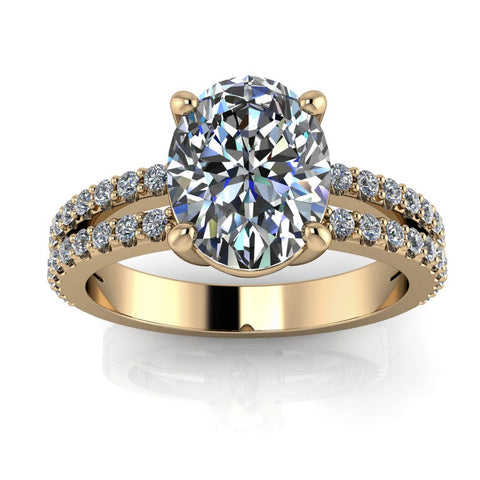 Oval Split Shank Engagement Ring - Emilia - Moissanite Rings