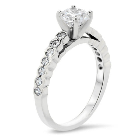 Bezel Set Diamond Moissanite Engagement Ring Setting -  Nan - Moissanite Rings