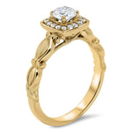 Diamond Halo Solitaire Moissanite Engagement Ring - Isa - Moissanite Rings