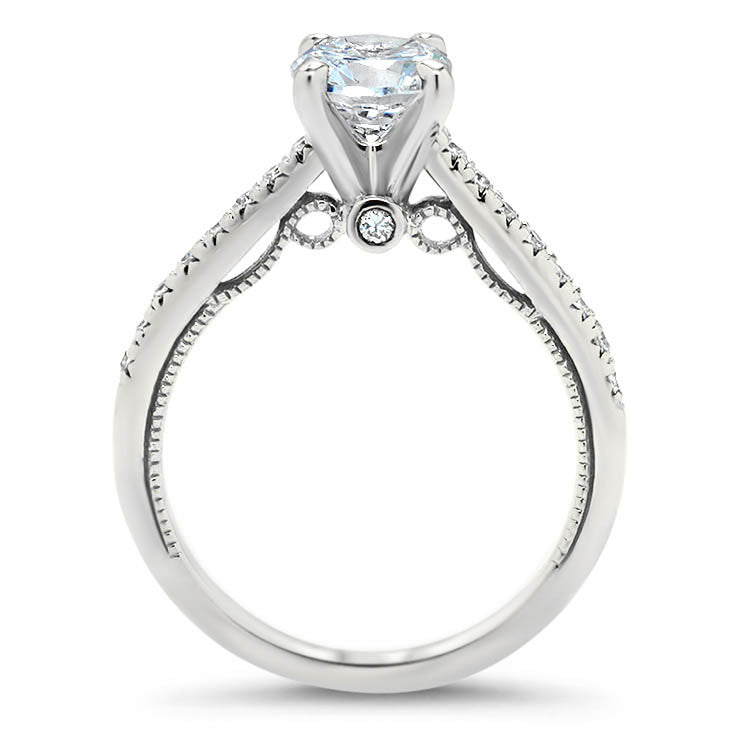 Thin Diamond Band Engagement Ring - Tara - Moissanite Rings
