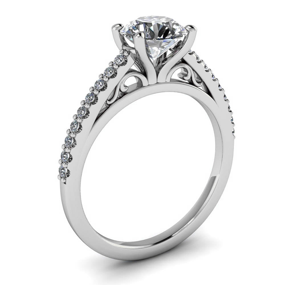 round in ring steel cz set rings cathedral feshionn products solitaire contemporary iobi stainless engagement