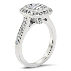 Cushion Cut Diamond Bezel Set Moissanite Center Engagement Ring - Betty - Moissanite Rings