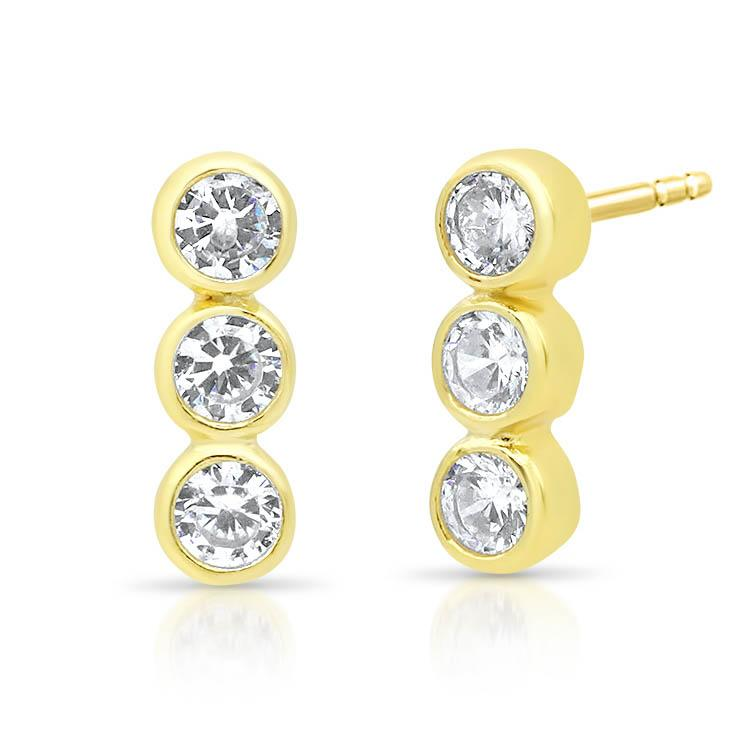 Three Diamond Bezels Earrings
