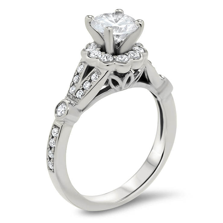 Floral Split Shank Moissanite Engagement Ring - Lola - Moissanite Rings