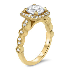 Foreve One Center Vintage Style Diamond Halo Moissanite  Engagement Ring - Noa - Moissanite Rings