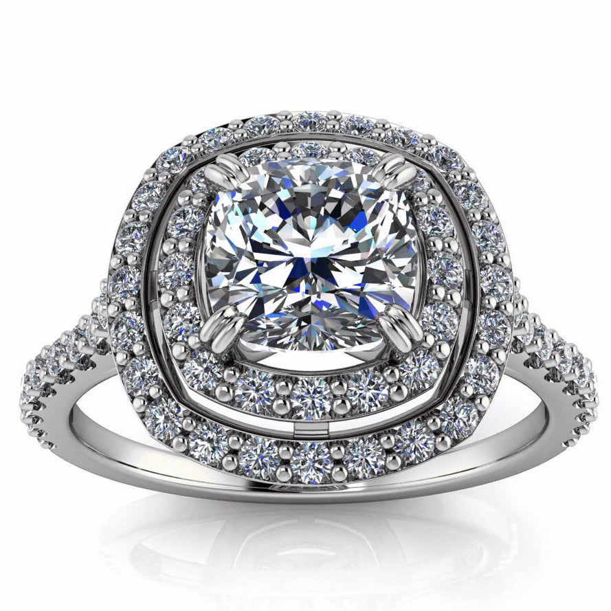 Double Halo Forever One Moissanite and Diamond Engagement Ring - Lima - Moissanite Rings