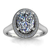 8x6 Oval Moissanite and Diamond Engagement Ring - Britta - Moissanite Rings
