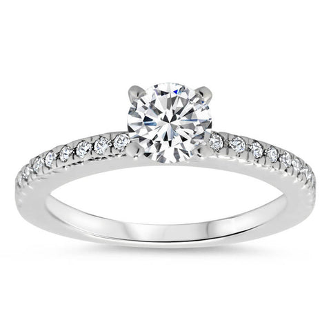 Thin Diamond Band Engagement Ring - Veep - Moissanite Rings