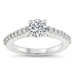 Single Row Diamond Engagement Ring Moissanite Center - Aries - Moissanite Rings