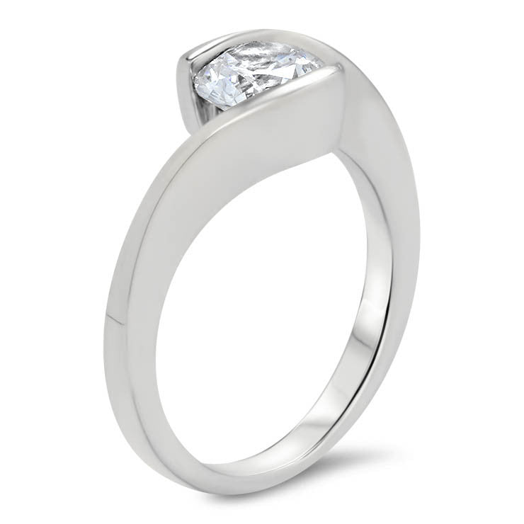 Half Bezel Forever One Moissanite Engagement Ring - Tasha - Moissanite Rings