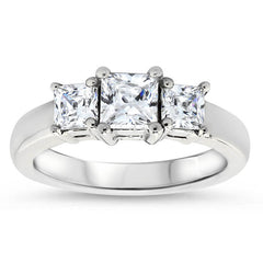 Three Stone Princess Cut Moissanite Engagement Ring - Gina - Moissanite Rings
