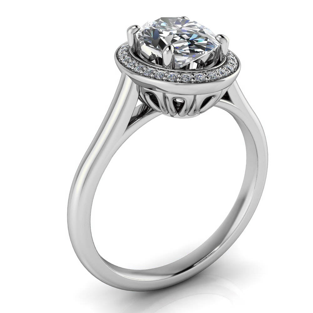 Engagement Rings With Moissanite: 8x6 Oval Moissanite And Diamond Engagement Ring