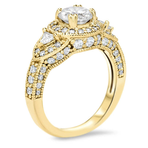 Vintage Style Diamond Halo Moissanite Center Engagement Ring - Lauren - Moissanite Rings