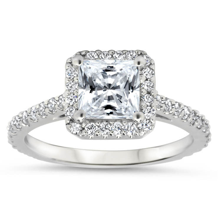 REVISED DESIGN Princess Cut Forever One Moissanite and Diamond Halo Engagement Ring - Prima with Matching Diamond Band - Moissanite Rings
