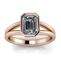 Bezel Set Emerald Cut Moissanite Solitaire Engagement RIng - Levi - Moissanite Rings