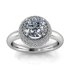 Diamond Cluster Forever One Moissanite Engagement Ring - Rome - Moissanite Rings