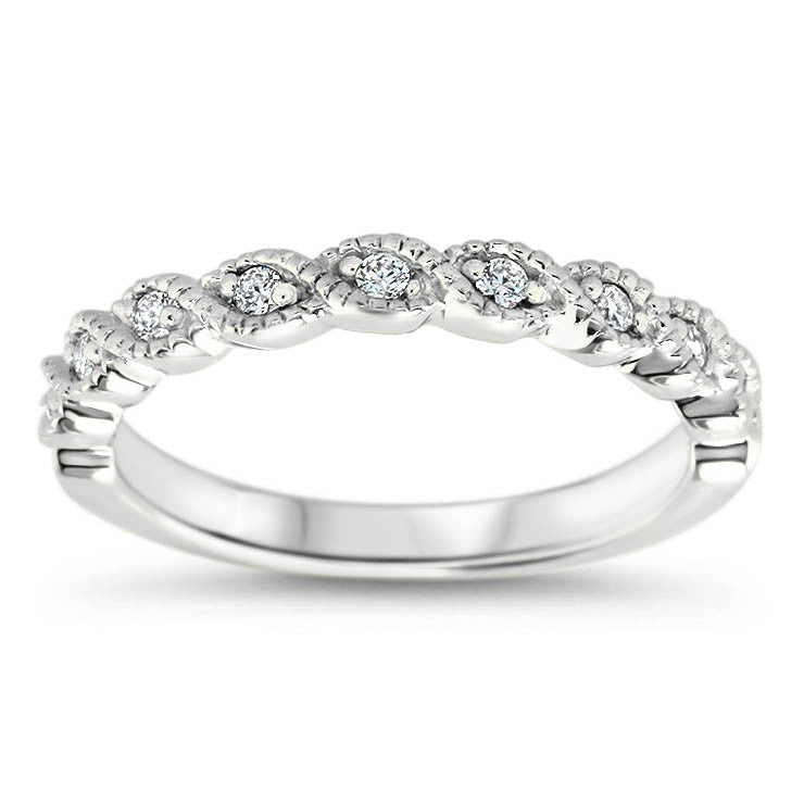 Diamond Twisted Wedding Band- Timeless Band - Moissanite Rings