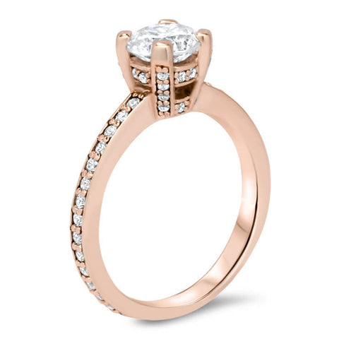 Moissanite and Diamond Basket Engagement Ring Forever One Center Stone - Dani - Moissanite Rings
