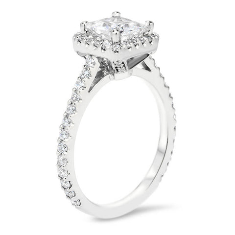 Princess Cut Forever One Moissanite Halo Engagement Ring - Prima - Moissanite Rings