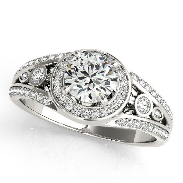 3/4 ct Forever Brilliant Moissanite Diamond Halo Engagement Ring - Joie - Moissanite Rings