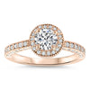 Diamond Halo Low Profile Moissanite Engagement Ring - Roberta - Moissanite Rings