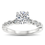 7.5 mm Center Moissanite Vintage Inspired Wedding Set - Timeless Twist  Wedding Set - Moissanite Rings