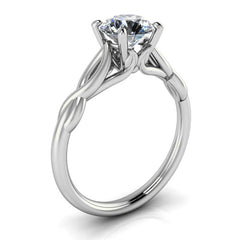 Twisted Band Solitaire Engagement Ring Moissanite Engagement Ring - Wild