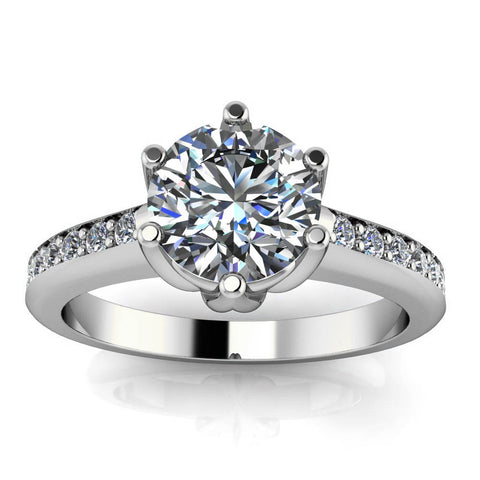 Six Prong Moissanite Engagement Ring - Gladys