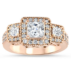 Vintage Style Engagement Ring 3-Stone Halo Moissanite and Diamond Engagement Ring - Honey - Moissanite Rings