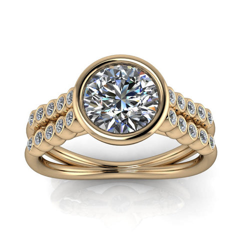 Double Row Bezel Set Engagement Ring - Eliza - Moissanite Rings