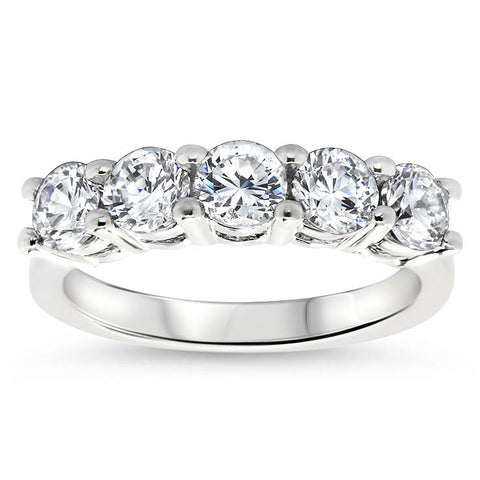 Five Stone 1.25 carat Diamond Wedding Band - Five - Moissanite Rings