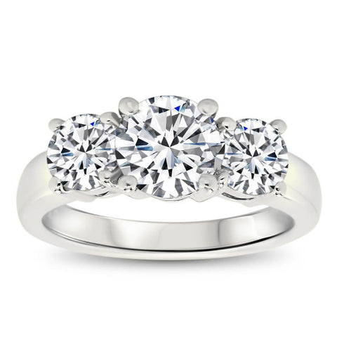 Three Moissanite Engagement Ring - Eileen - Moissanite Rings